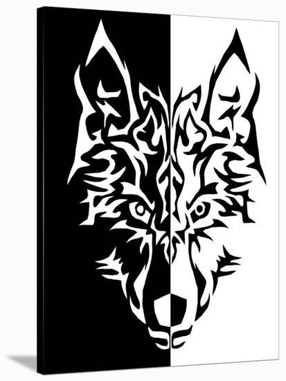 Black White Wolf Animal Wolves-Wonderful Dream-Stretched Canvas Print