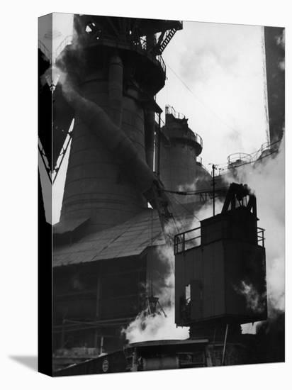 Blast Furnace at Jones and Laughlin Steel Plant-Margaret Bourke-White-Stretched Canvas Print