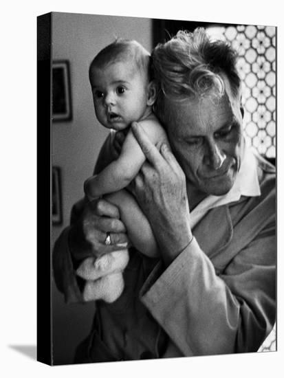 Blind Doctor Albert A. Nast Holding Ear to Back of 3 Month Old Instead of Using a Stethoscope-Thomas D. Mcavoy-Stretched Canvas Print