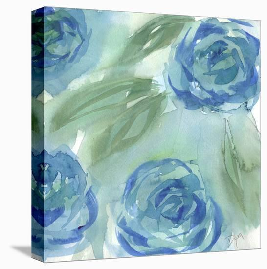 Blue Green Roses II-Beverly Dyer-Stretched Canvas Print