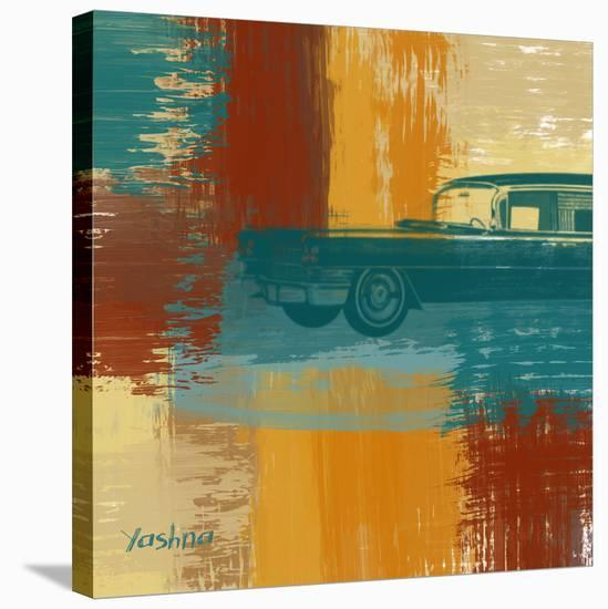 Blue Retro Car-Yashna-Stretched Canvas Print
