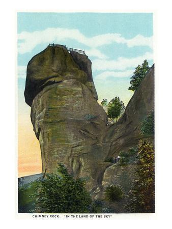 Blue Ridge Mountains, North Carolina - Chimney Rock Scene-Lantern Press-Stretched Canvas Print