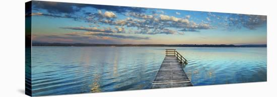 Boat ramp and filigree clouds, Bavaria, Germany-Frank Krahmer-Stretched Canvas Print