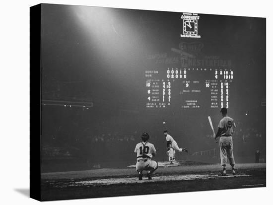 Boston Red Sox Player Ted Williams, While Watching Pitcher Warm-up. Catcher Sherm Lollar-Frank Scherschel-Stretched Canvas Print