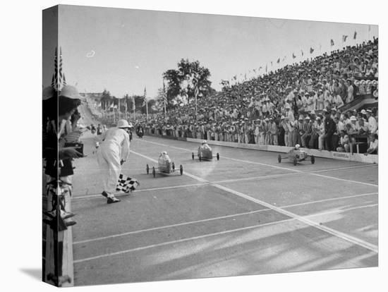 Boys and their Cars Crossing the Finish Line During the Soap Box Derby-Carl Mydans-Stretched Canvas Print
