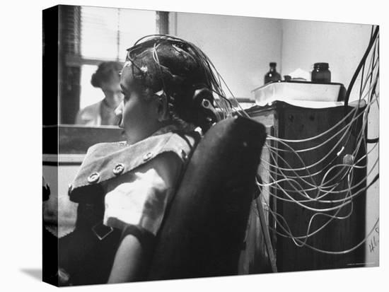 Brain Impulses Are Measured by Electroencephalograph Readings from Electrodes at Headache Clinic-Gordon Parks-Stretched Canvas Print