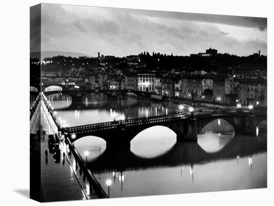 Bridges across the Arno River at Night-Alfred Eisenstaedt-Stretched Canvas Print