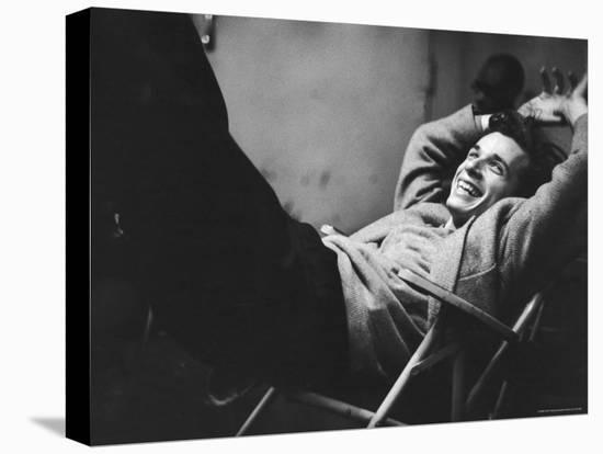 Brilliant Young Canadian Pianist Glenn Gould Laughing at a Columbia Recording Studio-Gordon Parks-Stretched Canvas Print