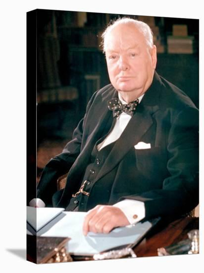British Politican Sir Winston Churchill, Formal Portrait at Desk-Carl Mydans-Stretched Canvas Print