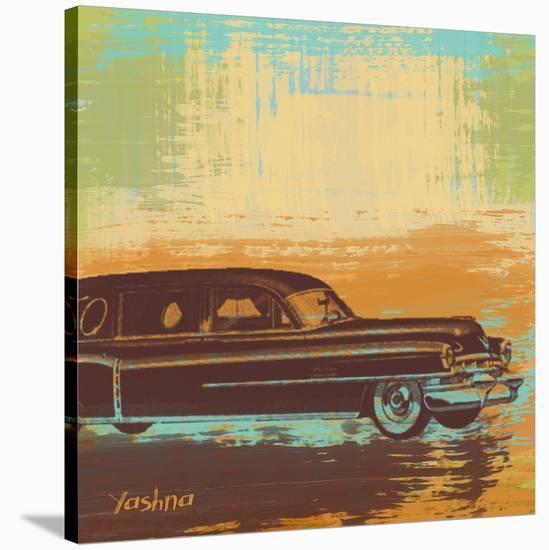 Brown Retro Car I-Yashna-Stretched Canvas Print