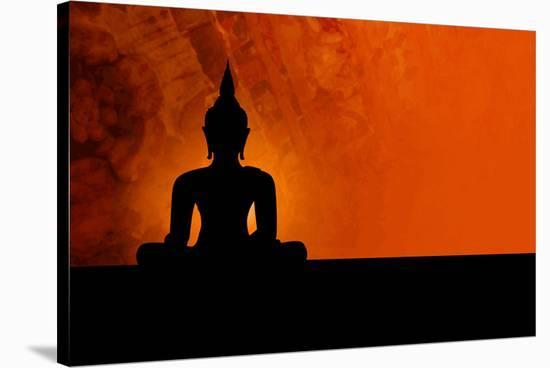 Buddha Silhouette & Red Sunset--Stretched Canvas Print