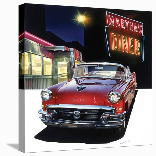 Buick '56 at Martha's Diner-Graham Reynold-Stretched Canvas Print