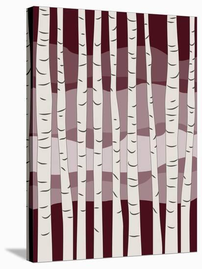 Burgundy Birch Trees-Jetty Printables-Stretched Canvas Print