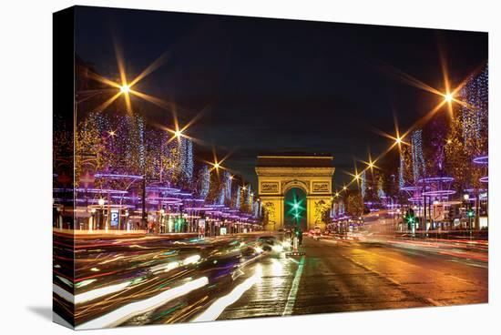 Bustling Paris at Night--Stretched Canvas Print