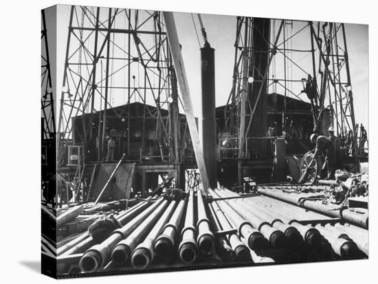 California Oil Co. Drilling Operations on Derrick Off Louisiana Coast-Margaret Bourke-White-Stretched Canvas Print