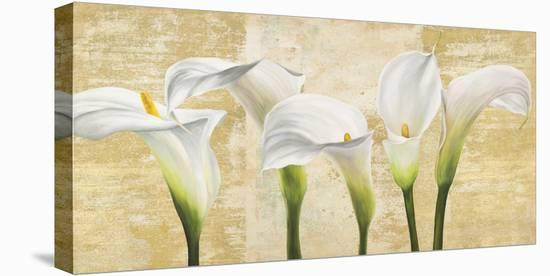 Callas on Gold (neutral variation)-Jenny Thomlinson-Stretched Canvas Print