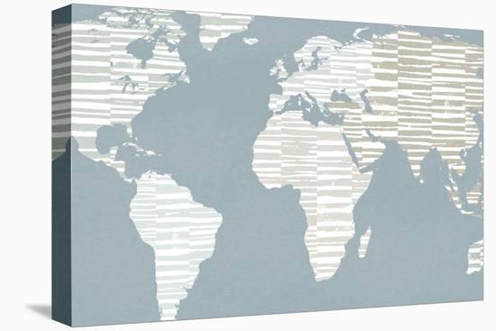 Calm World Map Crop-Moira Hershey-Stretched Canvas Print