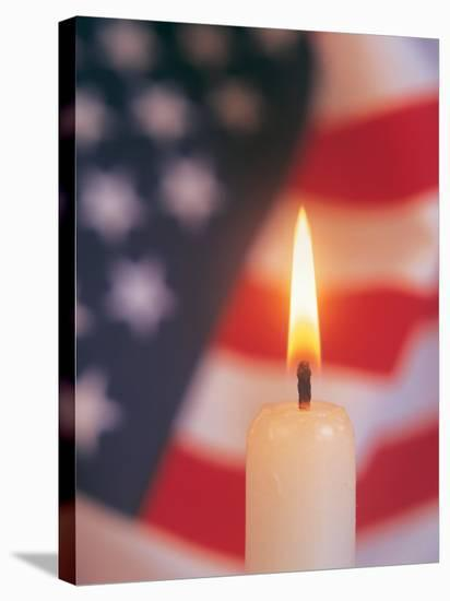 Candle with USA Flag Behind-Terry Why-Stretched Canvas Print