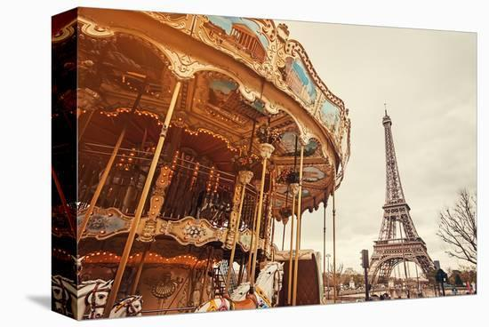 Carousel & Eiffel Tower-Sunset--Stretched Canvas Print