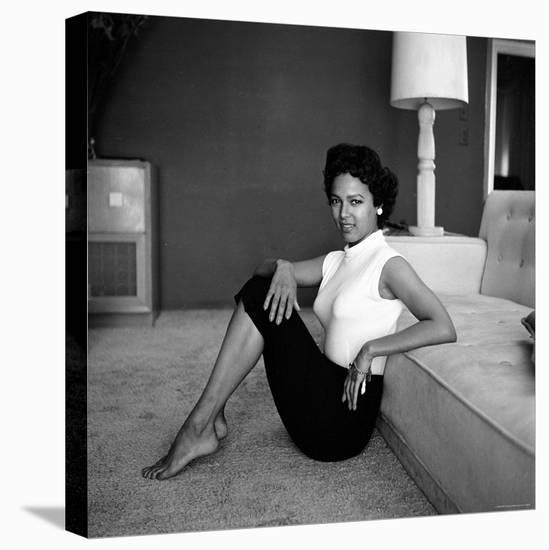 Casual Portrait of Actress Dorothy Dandridge at Home-Allan Grant-Stretched Canvas Print