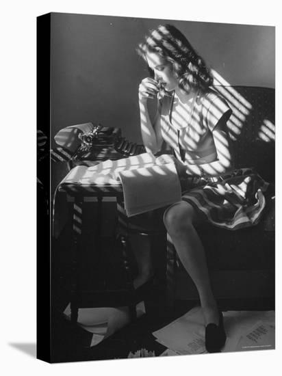 Cathy O'Donnell Working on Her Poetry in Her Room at La Quinta-Martha Holmes-Stretched Canvas Print