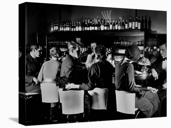 Celebrity Patrons Enjoying Drinks at This Speakeasy Without Fear of Police Prohibition Raids-Margaret Bourke-White-Stretched Canvas Print