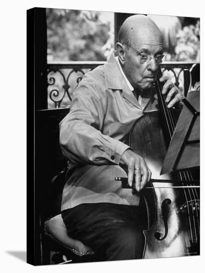 Cellist Pablo Casals Rehearsing at His Home in Prades-Gjon Mili-Stretched Canvas Print