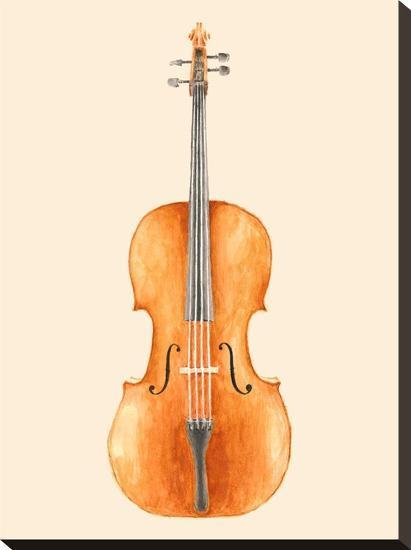 Cello-Florent Bodart-Stretched Canvas Print