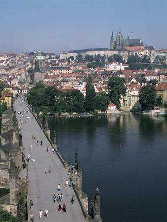 Charles Bridge, Prague, Czech Republic-Peter Thompson-Stretched Canvas Print