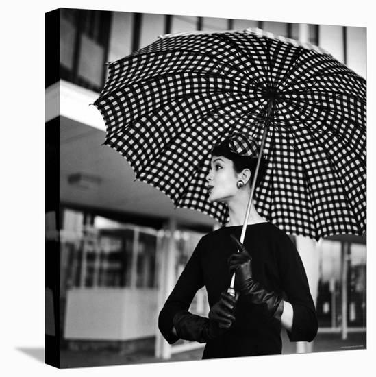 Checked Parasol, New Trend in Women's Accessories, Used at Roosevelt Raceway-Nina Leen-Stretched Canvas Print