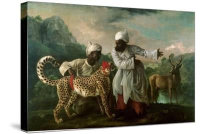 Dream-art Oil painting Stubbs George A Bay Hunter With Two Spaniels horse /& dogs