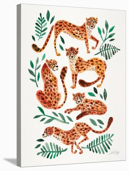 Cheetah Collection Orange-Cat Coquillette-Stretched Canvas Print