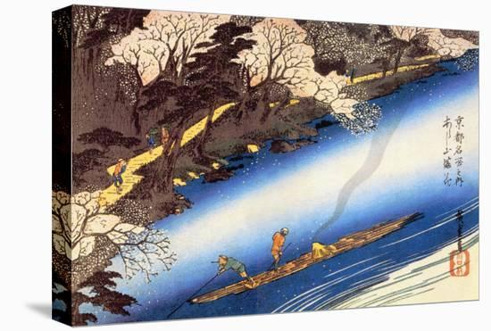 Cherry Blossoms in Full Bloom-Ando Hiroshige-Stretched Canvas Print