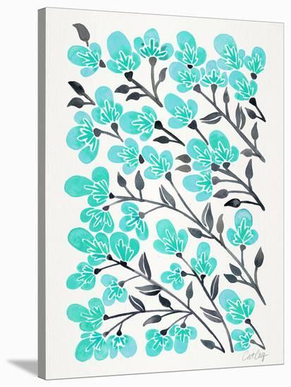 Cherry Blossoms Turquoise-Cat Coquillette-Stretched Canvas Print