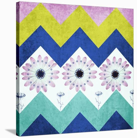 Chevron with Flowers-Irena Orlov-Stretched Canvas Print