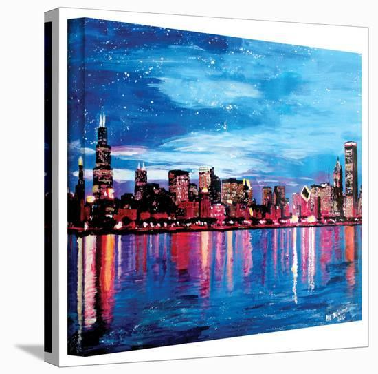 'Chicago Skyline at Dusk' Gallery-Wrapped Canvas-Martina Bleichner-Gallery Wrapped Canvas