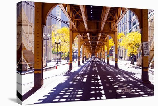 Chicago Street-Elevate Train--Stretched Canvas Print