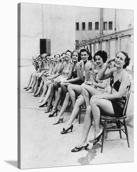 Chorus Line Girls on Chairs--Stretched Canvas Print