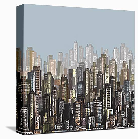 Cityscape Skyscrapers & Sky--Stretched Canvas Print