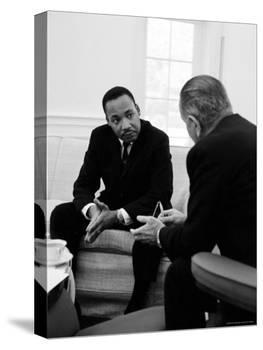 Civil Right Leader Dr. Martin Luther King Speaking with President Lyndon Johnson-Stan Wayman-Premier Image Canvas
