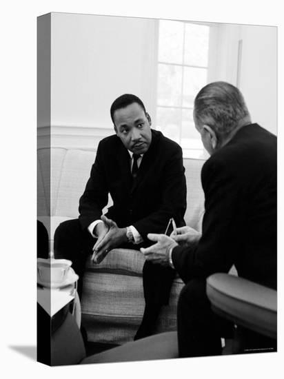 Civil Right Leader Dr. Martin Luther King Speaking with President Lyndon Johnson-Stan Wayman-Stretched Canvas Print