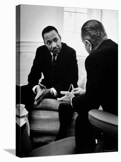 Civil Rights Leader Dr Martin Luther King with Pres. Lyndon Johnson During Visit to the White House-Stan Wayman-Stretched Canvas Print