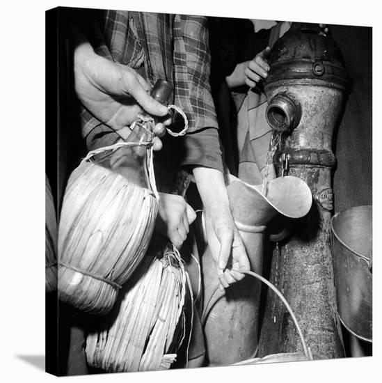 Civilians Filling Wine Jugs with Fresh Water after City was Restored in the Wake of Germans, WWII-Margaret Bourke-White-Stretched Canvas Print
