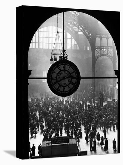 Clock in Pennsylvania Station-Alfred Eisenstaedt-Stretched Canvas Print