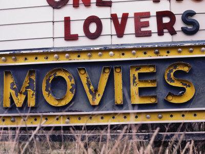 Close View of an Old Drive-In Theater Sign-Stephen St^ John-Stretched Canvas Print