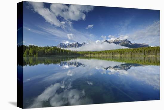 Clouds Reflected in Herbert Lake-Mike Grandmaison-Stretched Canvas Print