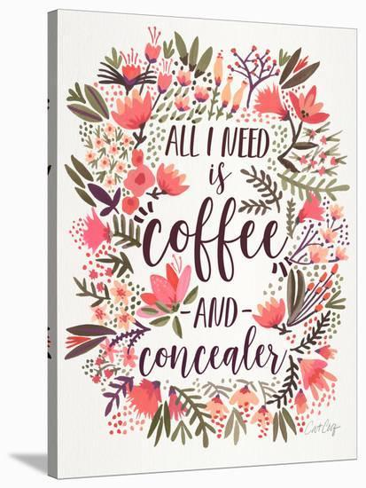 Coffee And Concealer Vintage-Cat Coquillette-Stretched Canvas Print