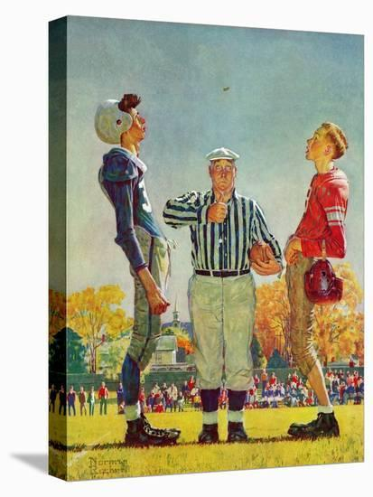 """""""Coin Toss"""", October 21,1950-Norman Rockwell-Stretched Canvas Print"""