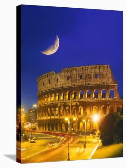 Colosseum at Night, Rome, Italy-Terry Why-Stretched Canvas Print