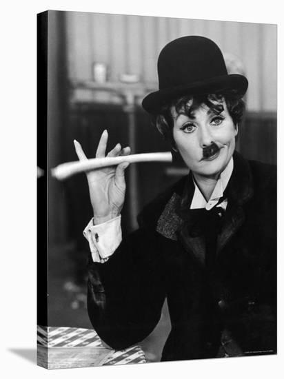 Comedien/Actress Lucille Ball imitating Charlie Chaplin on her New Year's TV show-Ralph Crane-Stretched Canvas Print